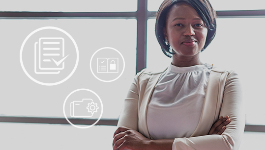 confident woman standing with arms crossed and marketing compliance icons